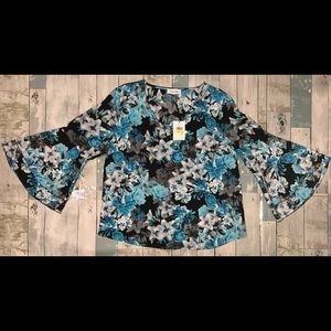 NWT Calvin Kline Bell Sleeve Floral Blouse Size M